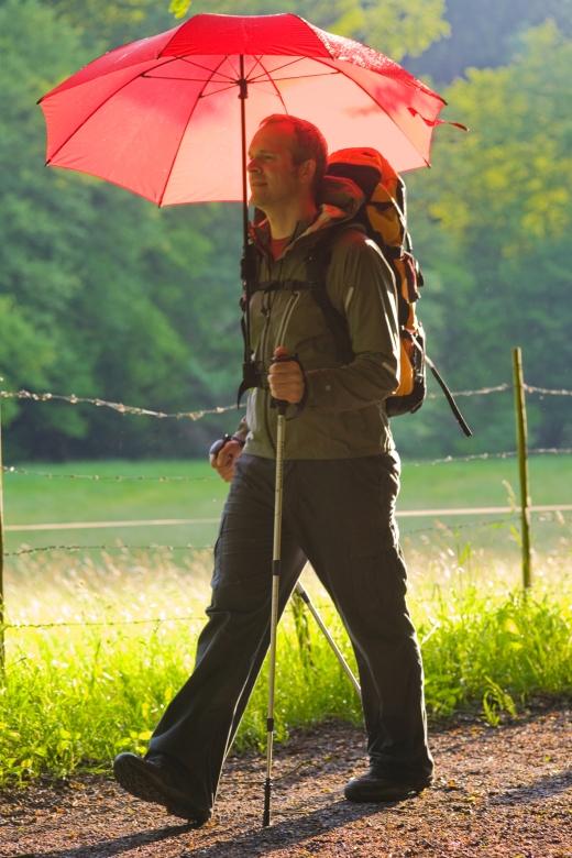 Freihändig durch den Regen neuer Wanderschirm Swing handsfree wird einfach am Rucksack befestigt