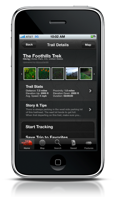 The North Face Trailhead App – Kostenlose iPhone®-App bietet Karten und Infos zu über 300.000 Mountainbike-Trails, Wanderwegen und Laufstrecken weltweit