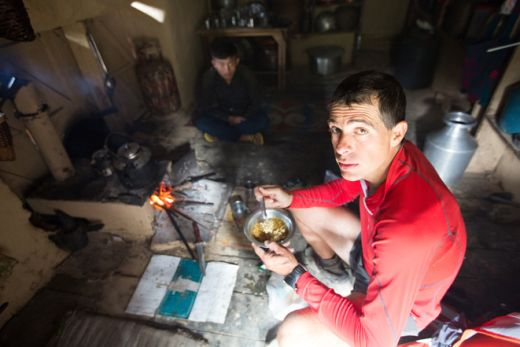 Philippe on day 16, pausing during a 14.5hr long day heading to Ganesh Himal - Fotcredit: Berghaus